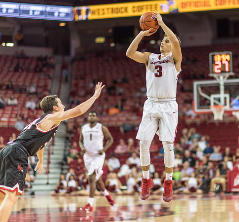Arkansas Razorbacks guard Dusty Hannahs (3) shoots  during a basketball game between Arkansas and Central Missouri on Friday, October 28, 2016.  (Alan Jamison, Nate Allen Sports Service)
