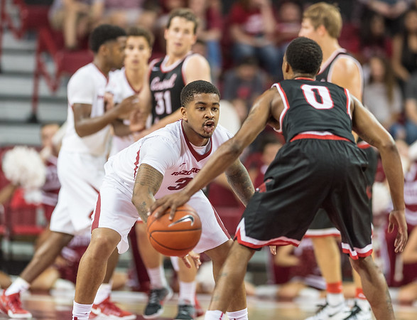 Arkansas Razorbacks guard Anton Beard (31) defends during a basketball game between Arkansas and Central Missouri on Friday, October 28, 2016.  (Alan Jamison, Nate Allen Sports Service)