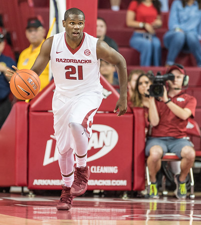 Arkansas Razorbacks guard Manuale Watkins (21) at point during a basketball game between Arkansas and Central Missouri on Friday, October 28, 2016.  (Alan Jamison, Nate Allen Sports Service)