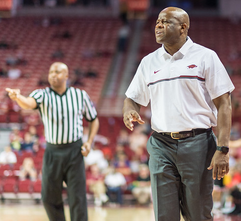 Arkansas Razorbacks head coach Mike Anderson reacts to a call during a basketball game between Arkansas and Central Missouri on Friday, October 28, 2016.  (Alan Jamison, Nate Allen Sports Service)
