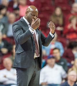 Arkansas Razorbacks head coach Mike Anderson reacts to a call during a basketball game between Arkansas and Fort Wayne on Friday, November 11, 2016.  (Alan Jamison, Nate Allen Sports Service)