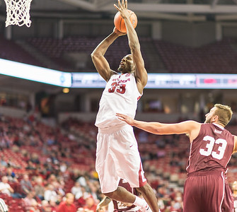 Arkansas Razorbacks forward Moses Kingsley (33) shoots during a basketball game between Arkansas and Southern Illinois University on Monday, November 14, 2016.  (Alan Jamison, Nate Allen Sports Service)
