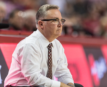 Southern Illinois Salukis head coach Barry Hinson watches a play during a basketball game between Arkansas and Southern Illinois University on Monday, November 14, 2016.  (Alan Jamison, Nate Allen Sports Service)