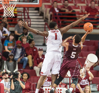 Arkansas Razorbacks forward Trey Thompson (1) defends during a basketball game between Arkansas and Southern Illinois University on Monday, November 14, 2016.  (Alan Jamison, Nate Allen Sports Service)