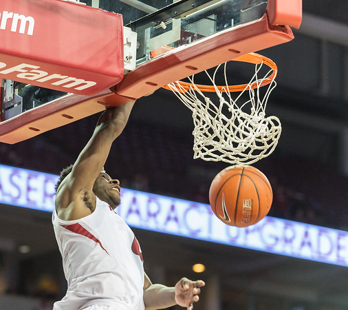 Jaylen Barford dunks during a basketball game between Arkansas and UT Arlington on Friday, November 18, 2016.  (Alan Jamison, Nate Allen Sports Service)