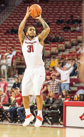 Arkansas Razorbacks guard Anton Beard (31) shoots during a basketball game between Arkansas and Mount St. Mary's on Monday, November 28, 2016.  (Alan Jamison, Nate Allen Sports Service)