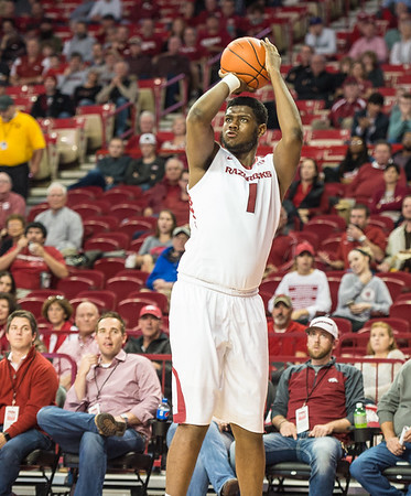 Arkansas Razorbacks forward Trey Thompson (1) shoots during a basketball game between Arkansas and Mount St. Mary's on Monday, November 28, 2016.  (Alan Jamison, Nate Allen Sports Service)