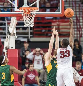 Arkansas Razorbacks forward Moses Kingsley (33) shoots during a basketball game between Arkansas and North Dakota State on Tuesday, December 20, 2016.  (Alan Jamison, Nate Allen Sports Service)