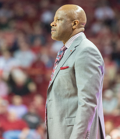 Arkansas Razorbacks head coach Mike Anderson watches during a basketball game between Arkansas and Mississippi State on Tuesday, January 10, 2017.  (Alan Jamison, Nate Allen Sports Service)