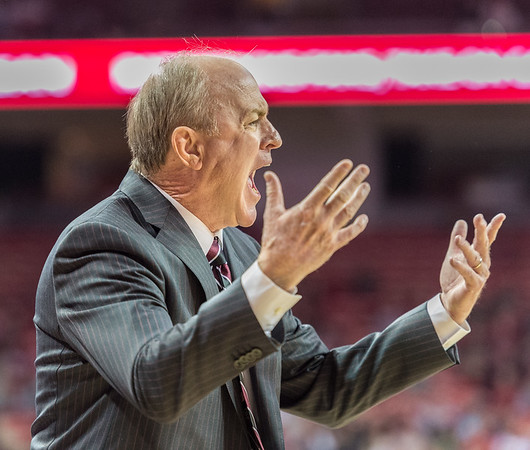Mississippi State Bulldogs head coach Ben Howland during a basketball game between Arkansas and Mississippi State on Tuesday, January 10, 2017.  (Alan Jamison, Nate Allen Sports Service)