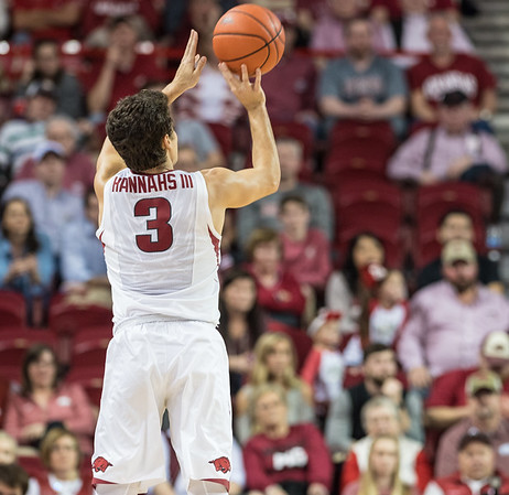 Arkansas Razorbacks guard Dusty Hannahs (3) with a long three pointer to get the Razorbacks to 99 points during a basketball game between Arkansas and LSU on Saturday, January 21, 2017.  (Alan Jamison, Nate Allen Sports Service)