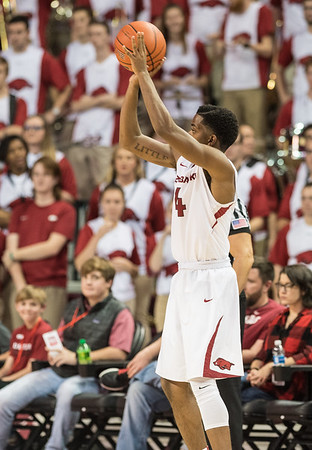 Arkansas Razorbacks guard Daryl Macon (4) shoots during a basketball game between Arkansas and LSU on Saturday, January 21, 2017.  (Alan Jamison, Nate Allen Sports Service)