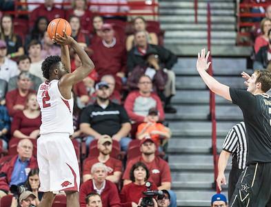 Arkansas Razorbacks forward Adrio Bailey (2) shoots during a basketball game between Arkansas and Vanderbilt on Tuesday, February 7, 2017.  (Alan Jamison, Nate Allen Sports Service)
