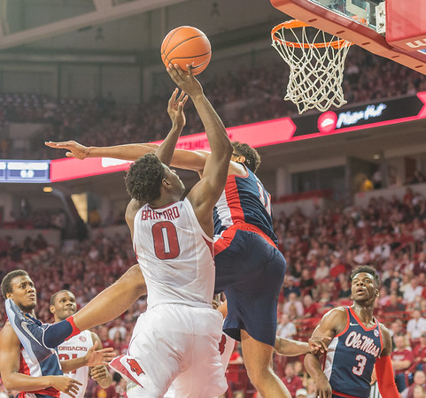 Arkansas Razorbacks guard Jaylen Barford (0)] shoots during a basketball game between Arkansas and Ole Miss on Saturday. 2/18/2017.  (Alan Jamison, Nate Allen Sports Service)
