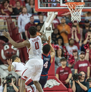 Arkansas Razorbacks guard Jaylen Barford (0) blocks a shot during a basketball game between Arkansas and Ole Miss on Saturday. 2/18/2017.  (Alan Jamison, Nate Allen Sports Service)