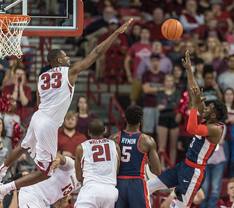 Arkansas Razorbacks forward Moses Kingsley (33) goes up to attempt a block during a basketball game between Arkansas and Ole Miss on Saturday. 2/18/2017.  (Alan Jamison, Nate Allen Sports Service)
