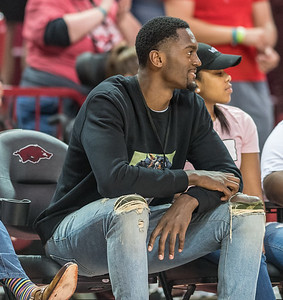 Former Razorback Bobby Portis watches the game between Arkansas and Ole Miss on Saturday. 2/18/2017.  (Alan Jamison, Nate Allen Sports Service)