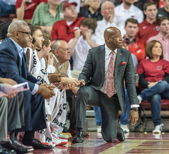 Arkansas Razorbacks head coach Mike Anderson on the sideline during a basketball game between Arkansas and Ole Miss on Saturday. 2/18/2017.  (Alan Jamison, Nate Allen Sports Service)