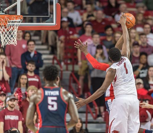 Arkansas Razorbacks forward Trey Thompson (1) blocks a shot during a basketball game between Arkansas and Ole Miss on Saturday. 2/18/2017.  (Alan Jamison, Nate Allen Sports Service)