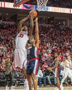 Arkansas Razorbacks forward Moses Kingsley (33) shoots during a basketball game between Arkansas and Ole Miss on Saturday. 2/18/2017.  (Alan Jamison, Nate Allen Sports Service)