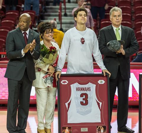 Razorback seniors were recognized before the basketball game between Arkansas and Georgia on Saturday, 3/4/2017.  (Alan Jamison, Nate Allen Sports Service)