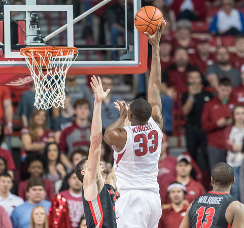 Arkansas Razorbacks forward Moses Kingsley (33) goes up for two during a basketball game between Arkansas and Georgia on Saturday, 3/4/2017.  (Alan Jamison, Nate Allen Sports Service)
