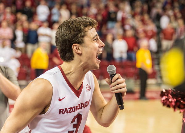 Arkansas Razorbacks guard Dusty Hannahs (3) addresses the crowd after the basketball game between Arkansas and Georgia on Saturday, 3/4/2017.  (Alan Jamison, Nate Allen Sports Service)