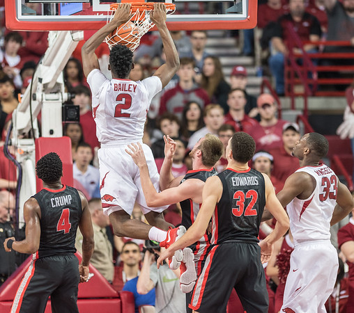 Arkansas Razorbacks forward Adrio Bailey (2) with a dunk during a basketball game between Arkansas and Georgia on Saturday, 3/4/2017.  (Alan Jamison, Nate Allen Sports Service)
