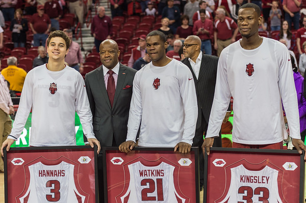 Razorback seniors were recognized before the basketball game between Arkansas and Georgia on Saturday, 3/4/2017.  (Alan Jamison, Nate Allen Sports Service)