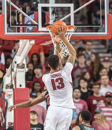 Arkansas Razorbacks forward Dustin Thomas (13) shoots during a basketball game between Arkansas and Georgia on Saturday, 3/4/2017.  (Alan Jamison, Nate Allen Sports Service)