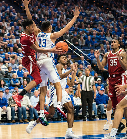 Arkansas Razorbacks guard Isaiah Joe (1) with an assist to Arkansas Razorbacks forward Reggie Chaney (35) during a basketball game between the Arkansas Razorbacks and the Kentucky Wildcats on Tuesday, January 26, 2019, at Rupp Arena.  (Alan Jamison, Nate Allen Sports Service)