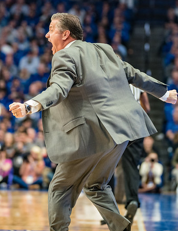 Kentucky Wildcats head coach John Calipari is agitated during the first half of a basketball game between the Arkansas Razorbacks and the Kentucky Wildcats on Tuesday, January 26, 2019, at Rupp Arena.  (Alan Jamison, Nate Allen Sports Service)