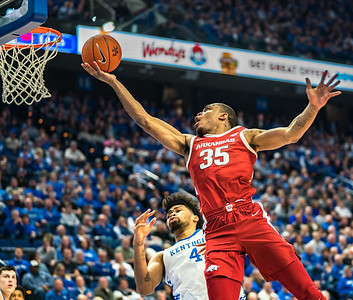 Arkansas Razorbacks forward Reggie Chaney (35) with a layup during a basketball game between the Arkansas Razorbacks and the Kentucky Wildcats on Tuesday, January 26, 2019, at Rupp Arena.  (Alan Jamison, Nate Allen Sports Service)