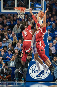 Arkansas Razorbacks forward Adrio Bailey (2) and Arkansas Razorbacks forward Daniel Gafford (10) defend  during a basketball game between the Arkansas Razorbacks and the Kentucky Wildcats on Tuesday, January 26, 2019, at Rupp Arena.  (Alan Jamison, Nate Allen Sports Service)