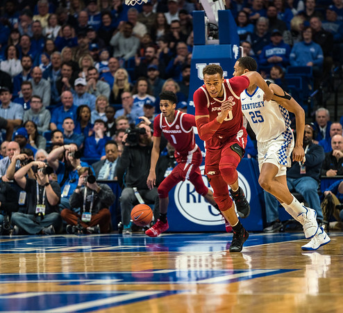 Arkansas Razorbacks guard Isaiah Joe (1) and Arkansas Razorbacks forward Daniel Gafford (10) on a fast break during a basketball game between the Arkansas Razorbacks and the Kentucky Wildcats on Tuesday, January 26, 2019, at Rupp Arena.  (Alan Jamison, Nate Allen Sports Service)
