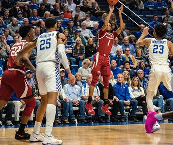 Arkansas Razorbacks guard Isaiah Joe (1) shoots a three pointer during a basketball game between the Arkansas Razorbacks and the Kentucky Wildcats on Tuesday, January 26, 2019, at Rupp Arena.  (Alan Jamison, Nate Allen Sports Service)