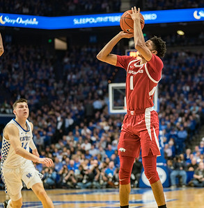 Arkansas Razorbacks guard Isaiah Joe (1) shoots a three pointer during a basketball game between the Arkansas Razorbacks and the Kentucky Wildcats on Tuesday, January 26, 2019, at Rupp Arena.  (Alan Jamison, Nate Allen Sports Service)