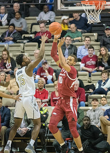 Arkansas Razorbacks forward Daniel Gafford (10) with a rebound during a basketball game between the Arkansas Razorbacks and the Vanderbilt Commodores on Wednesday, March 6, 2019, at Memorial Gymnasium.  (Alan Jamison, Nate Allen Sports Service)