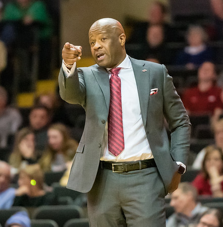 Arkansas Razorbacks head coach Mike Anderson during a basketball game between the Arkansas Razorbacks and the Vanderbilt Commodores on Wednesday, March 6, 2019, at Memorial Gymnasium.  (Alan Jamison, Nate Allen Sports Service)