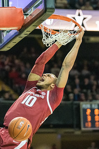 during a basketball game between the Arkansas Razorbacks and the Vanderbilt Commodores on Wednesday, March 6, 2019, at Memorial Gymnasium.  (Alan Jamison, Nate Allen Sports Service)