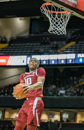 Arkansas Razorbacks forward Daniel Gafford (10) goes up for a monster dunk during a basketball game between the Arkansas Razorbacks and the Vanderbilt Commodores on Wednesday, March 6, 2019, at Memorial Gymnasium.  (Alan Jamison, Nate Allen Sports Service)