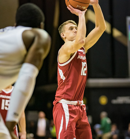 Arkansas Razorbacks guard Ty Stevens (12)] shoots a free throw during a basketball game between the Arkansas Razorbacks and the Vanderbilt Commodores on Wednesday, March 6, 2019, at Memorial Gymnasium.  (Alan Jamison, Nate Allen Sports Service)