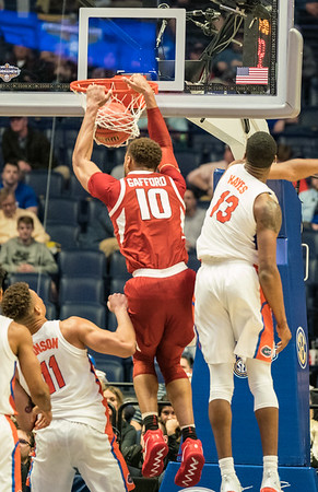 Arkansas Razorbacks forward Daniel Gafford (10) with a dunk during an SEC Tournament basketball game between the Arkansas Razorbacks and the Florida Gators on Thursday, March 14, 2019, at Bridgestone Arena.  (Alan Jamison, Nate Allen Sports Service)