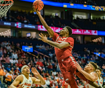 Arkansas Razorbacks forward Adrio Bailey (2) drives to the basket during an SEC Tournament basketball game between the Arkansas Razorbacks and the Florida Gators on Thursday, March 14, 2019, at Bridgestone Arena.  (Alan Jamison, Nate Allen Sports Service)