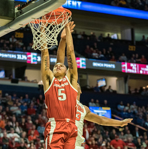 Arkansas Razorbacks guard Jalen Harris (5) dunks during an SEC Tournament basketball game between the Arkansas Razorbacks and the Florida Gators on Thursday, March 14, 2019, at Bridgestone Arena.  (Alan Jamison, Nate Allen Sports Service)