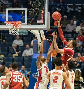 Arkansas Razorbacks forward Daniel Gafford (10) shoots during an SEC Tournament basketball game between the Arkansas Razorbacks and the Florida Gators on Thursday, March 14, 2019, at Bridgestone Arena.  (Alan Jamison, Nate Allen Sports Service)
