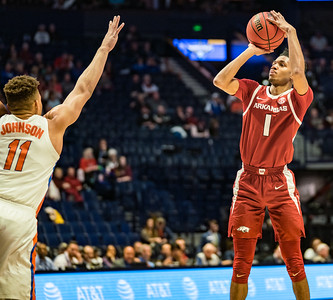 Arkansas Razorbacks guard Isaiah Joe (1) shoots a three pointer during an SEC Tournament basketball game between the Arkansas Razorbacks and the Florida Gators on Thursday, March 14, 2019, at Bridgestone Arena.  (Alan Jamison, Nate Allen Sports Service)