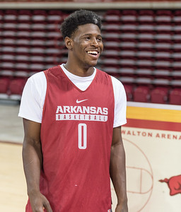 Arkansas Razorbacks guard Jaylen Barford (0) meets with media during the 2016 Arkansas Razorbacks Men's Basketball Media Day and practice on Wednesday, October 5, 2016.  (Alan Jamison, Nate Allen Sports Service)
