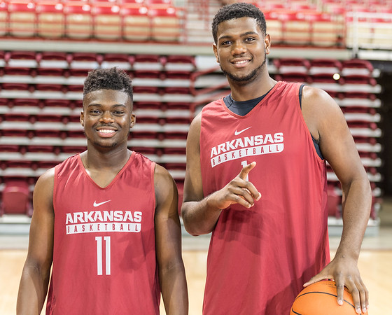 Guard RJ Glasper (11) and forward Trey Thompson (1) pose for a photo during the 2016 Arkansas Razorbacks Men's Basketball Media Day and practice on Wednesday, October 5, 2016.  (Alan Jamison, Nate Allen Sports Service)