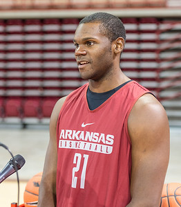 Arkansas Razorbacks guard Manuale Watkins (21) meets with media during the 2016 Arkansas Razorbacks Men's Basketball Media Day and practice on Wednesday, October 5, 2016.  (Alan Jamison, Nate Allen Sports Service)